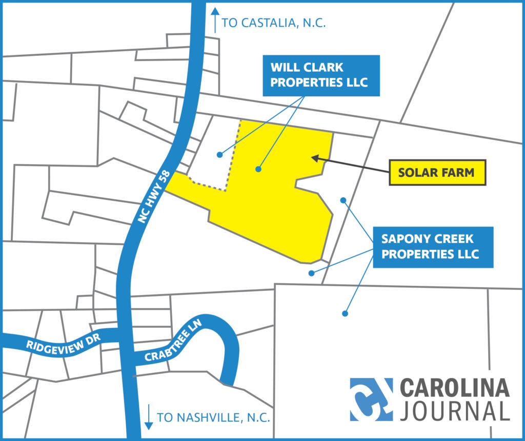 Roy Cooper reported on financial disclosure documents he divested his interest in the parcel owned by Will Clark Properties LLC in November 2014. His brother, District Court Judge Pell Cooper, is the only named principal in Will Clark Properties. The yellow-shaded area houses the solar farm. Roy and Pell Cooper are listed as principals of Sapony Creek Properties. (CJ graphic based on Nash County property records)