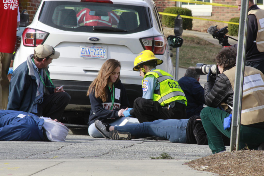 Student volunteers portrayed victims during a Feb. 1 active shooter drill on the UNC-Greensboro campus. (Photo by Martin Kane, UNC-Greensboro)
