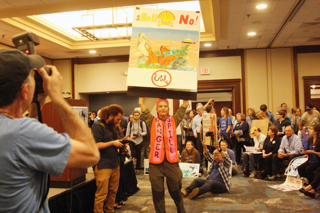 A boisterous crowd of offshore oil and gas drilling opponents got fired up even before the formal rally program started Monday, Feb. 26 in Raleigh. (CJ photo by Dan Way)