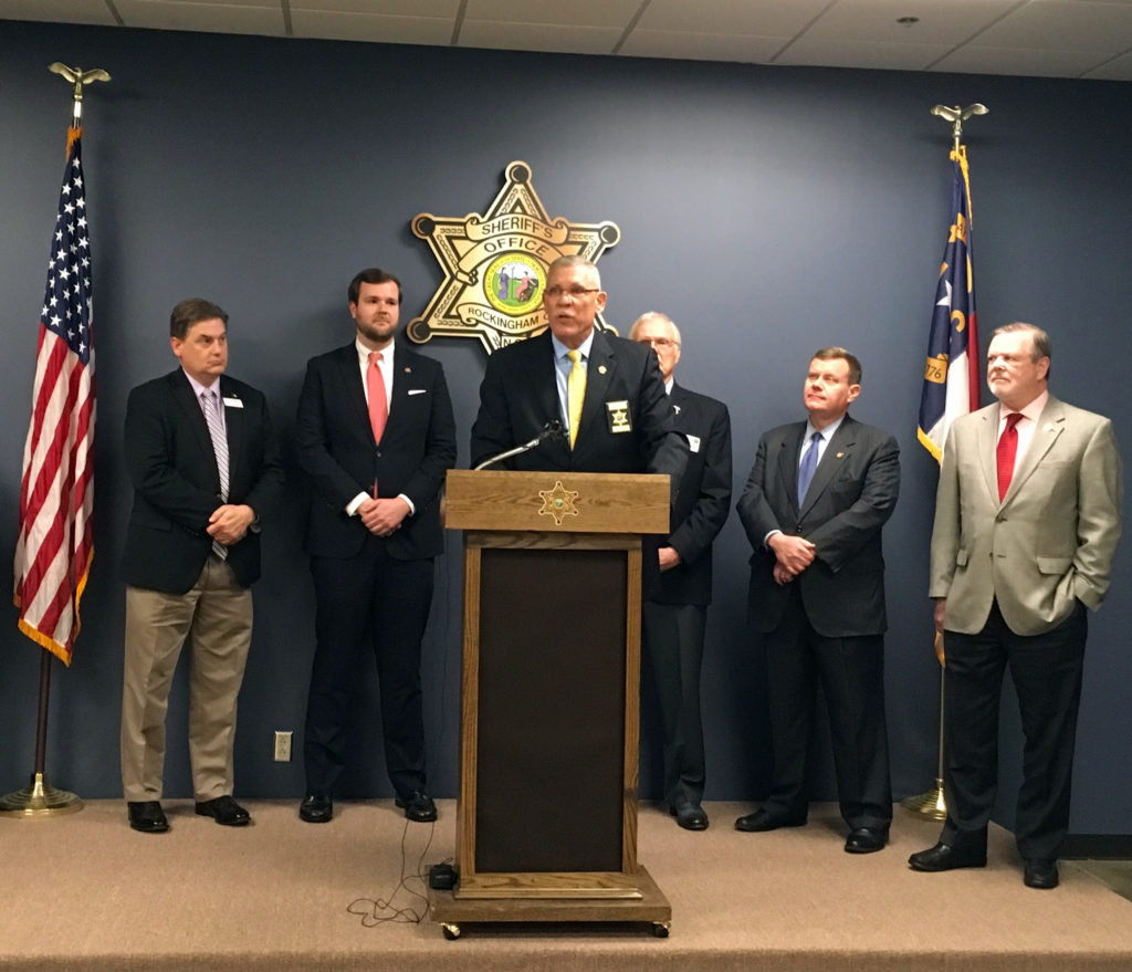 Rockingham County Sheriff Sam Page addresses a Feb. 28 news conference in Reidsville on school safety. From left, he was joined by Rockingham County Superintendent Rodney Shotwell&#x3B; Rep. Kyle Hall, R-Rockingham&#x3B; Sen. Ronald Rabin, R-Harnett&#x3B; House Speaker Tim Moore, R-Cleveland&#x3B; and Senate leader Phil Berger, R-Rockingham. (CJ photo by Lindsay Marchello)
