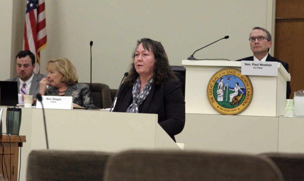 Sheila Holman, DEQ assistant secretary for the environment, tells the Joint Legislative Commission on Energy Policy Gov. Roy Cooper's $57.8 million escrow fund wasn't needed for any Atlantic Coast Pipeline environmental mitigation efforts. (CJ photo by Dan Way)