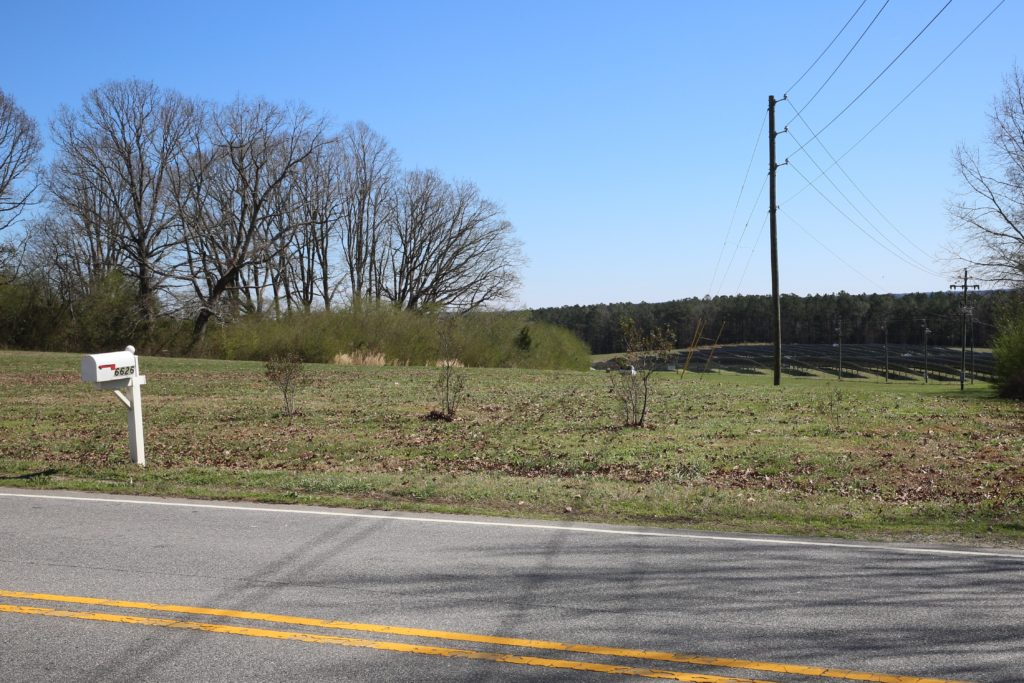 A street-level view of the solar farm on the Will Clark Properties LLC parcel owned by District Court Judge Pell Cooper. (CJ photo by Don Carrington)