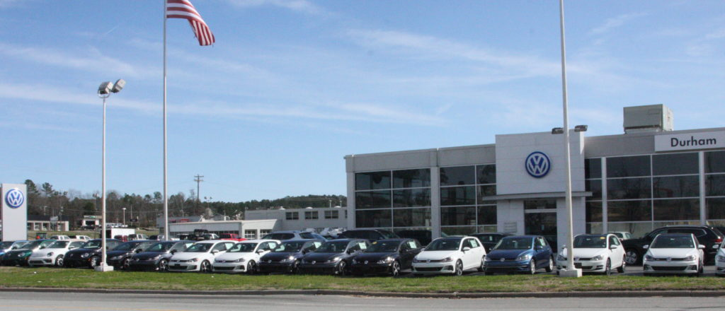 Owners of Volkswagen cars that are covered under a national consent decree between the automaker and the Environmental Protection Agency could have their vehicles replaced or the engines modified to meet emission standards. Car dealerships such as Durham Volkswagen, pictured, would be affected. (CJ photo by Dan Way)