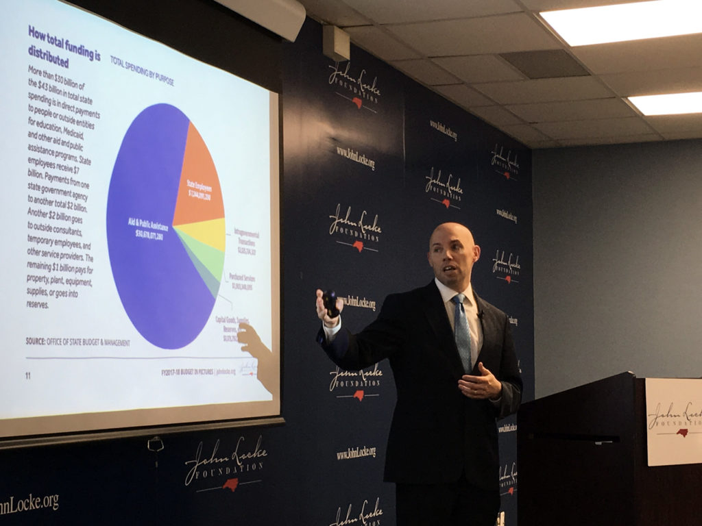 Joseph Coletti, senior fellow at the John Locke Foundation, used graphs and charts compiled from state budget materials at a March 12 presentation to depict N.C. government spending trends. (CJ photo by Lindsay Marchello)