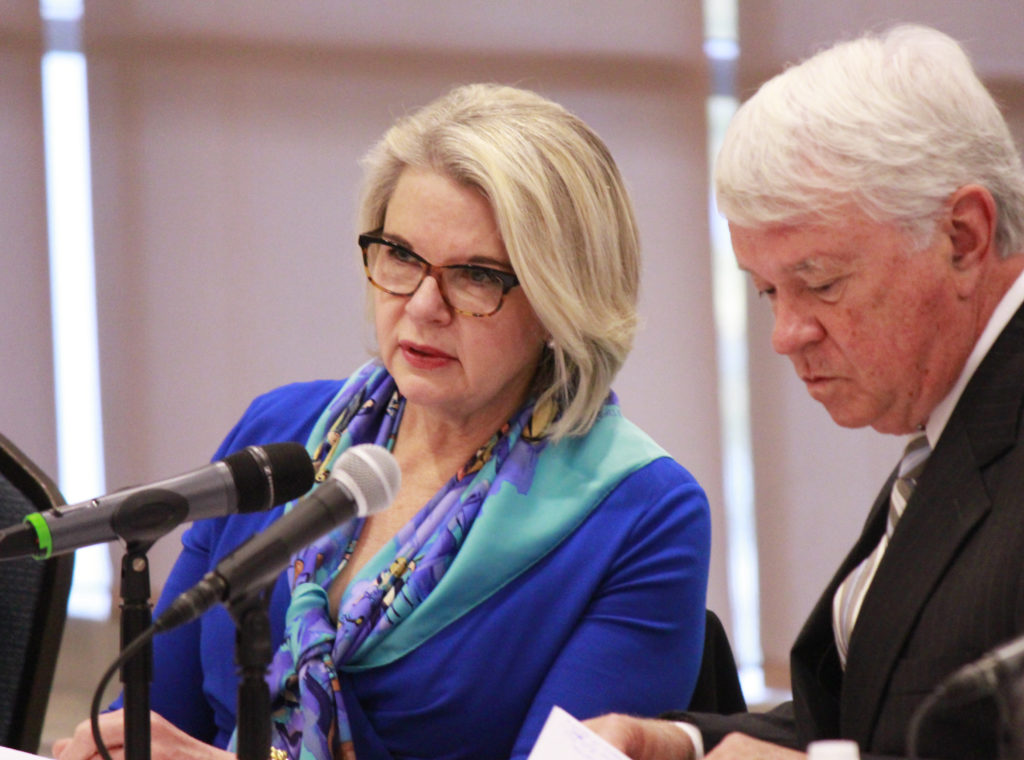 UNC President Margaret Spellings (left), and former UNC Board of Governors Chairman Lou Bissette, at a 2016 board meeting. (CJ photo by Kari Travis)