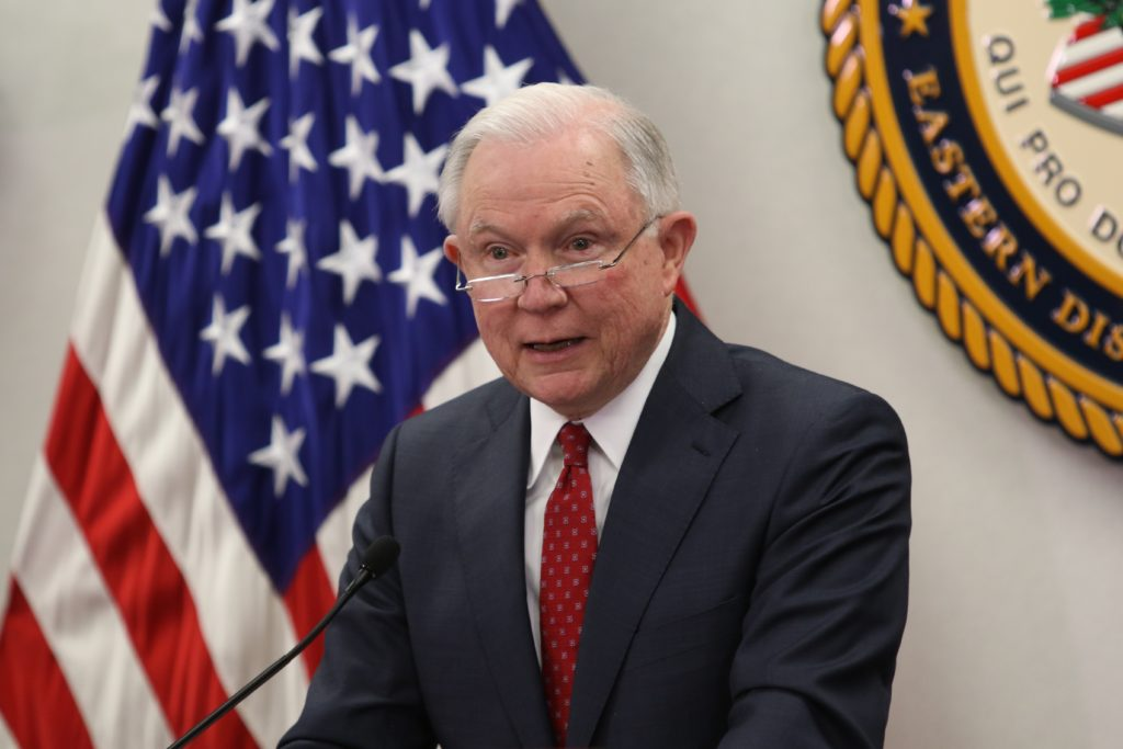 U.S. Attorney General Jeff Sessions addresses an April 17 meeting in Raleigh. He promised renewed efforts to fight opioid addiction. (CJ photo by Don Carrington)