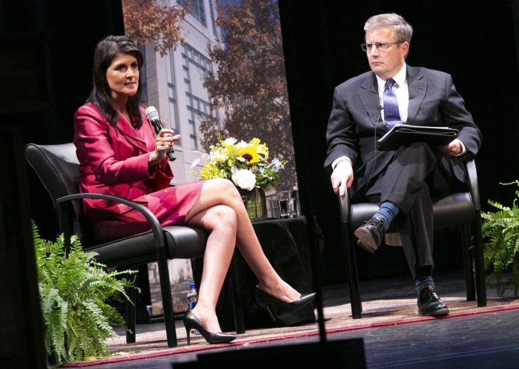 United Nations Ambassador Nikki Haley speaks with Duke Professor Peter Feaver on April 5, 2018. Photo by Duke's Sanford School of Public Policy.