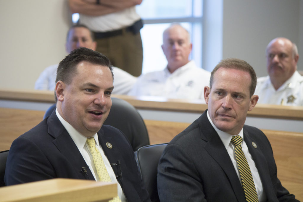 U.S. Reps. Richard Hudson, R-8th (left), and Ted Budd R-13th, at a May 2, 2018, roundtable to discuss human trafficking issues. (CJ photo by Kari Travis)