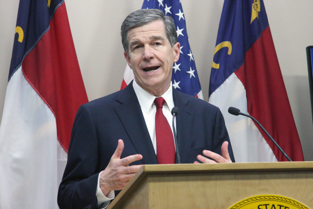Gov. Roy Cooper presents his short-session budget May 10. (CJ photo by Dan Way)