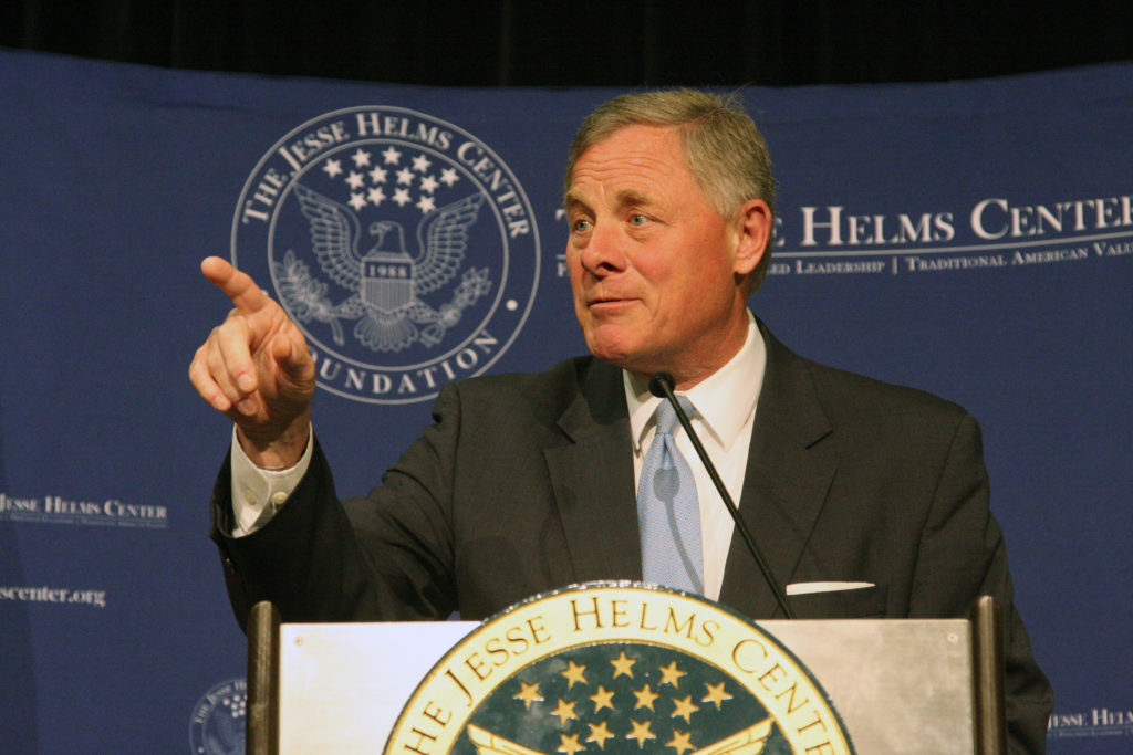 Sen. Richard Burr, R-N.C., discusses national security challenges May 11 in Raleigh during the 30th anniversary celebration of the Jesse Helms Center Foundation. (CJ photo by Dan Way)