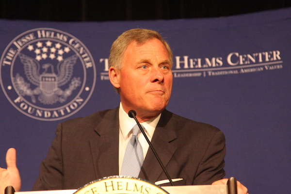 U.S. Sen. Richard Burr, North Carolina's senior Republican senator, discusses President Donald Trump's CIA nominee Gina Haspel and special counsel Robert Mueller's collusion investigation at the 30th anniversary event of the Jesse Helms Center Foundation. (Photo by Dan Way).