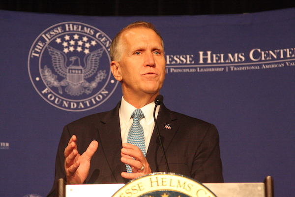 U.S. Sen. Thom Tillis discusses President Donald Trump's policies and impact during the Jesse Helms Center Foundation's 30th annual lecture series. (CJ Photo by Dan Way)