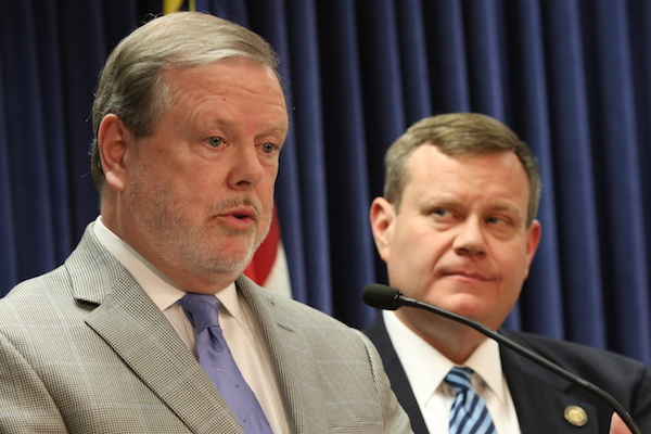 Senate leader Phil Berger, R-Rockingham, and House Speaker Tim Moore, R-Cleveland, at a May 15 news conference. (CJ Photo by Don Carrington).