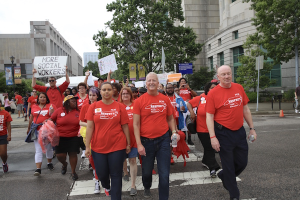 Mark Jewell, N.C. Association of Educators president, led  teachers during the May 2018 walkout in Raleigh. (Photo by Don Carrington).
