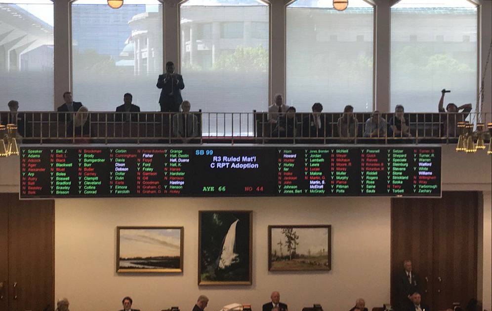 The final House vote on the 2018-19 General Fund budget. (Photo from Becki Gray)