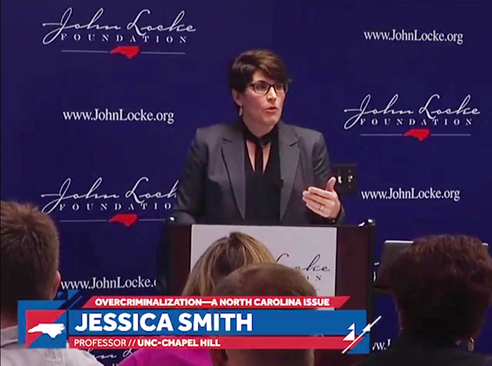 Jessica Smith, Kenan Distinguished Professor at the UNC School of Government, spoke April 9 at the John Locke Foundation on complexities in N.C.'s criminal code. (CJ file photo)