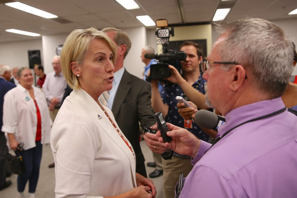 Democrat Jennifer Mangrum won a challenge to her residency in Senate District 30 July 12 at the Bipartisan State Board of Elections and Ethics Enforcement. (CJ photo by Don Carrington)