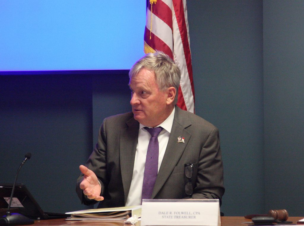State Treasurer Dale Folwell presides over the July 10 meeting of the Local Government Commission. (CJ photo by Dan Way)