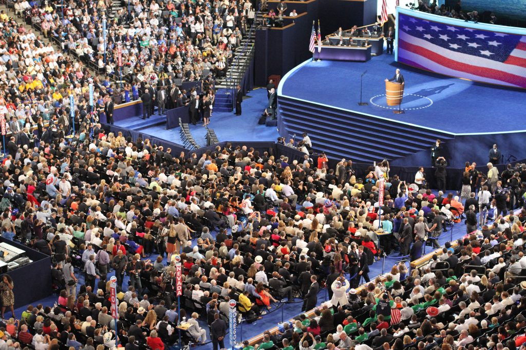 The scene from the 2012 Democratic Nominating Convention in Charlotte. (CJ photo by Don Carrington)