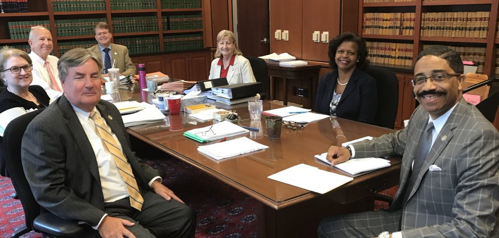 N.C. Supreme Court justices meet in an Aug. 17, 2018, conference. Photo posted at N.C. Judicial Branch Twitter page.