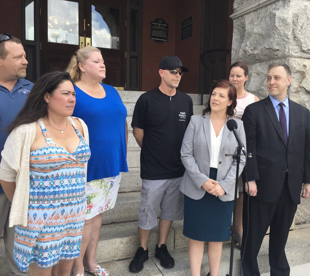 The Institute for Justice and Food Truck owners gathered on the steps of the New Hanover County Courthouse Aug. 21 to announce a lawsuit against Carolina Beach over a food truck law. (CJ Photo by Lindsay Marcello).