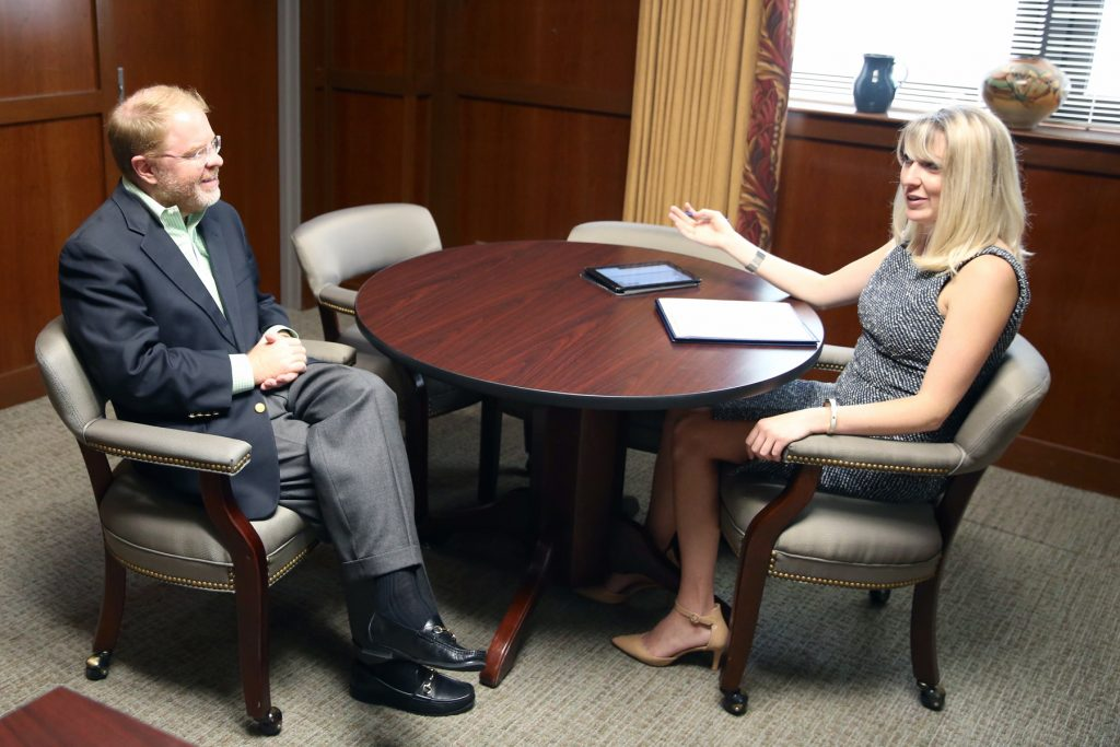 N.C. Community College System President Peter Hans spoke with CJ's Kari Travis in late July. (CJ photo by Don Carrington)