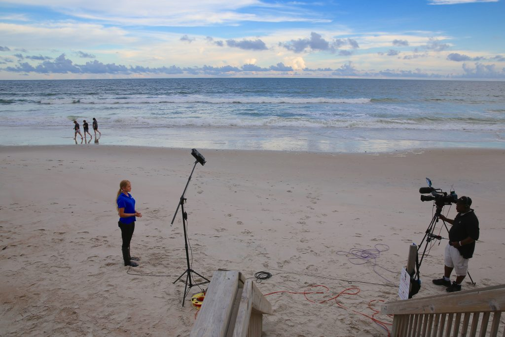 News crews spread out across North Carolina to cover the approach of Hurricane Florence. (CJ photo by Don Carrington).
