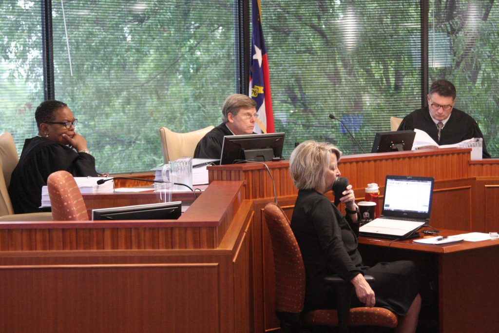 From left, Superior Court Judges Alma Hinton, Paul Ridgeway, and Joseph Crosswhite, hear arguments in Common Cause v. Lewis. (CJ file photo)