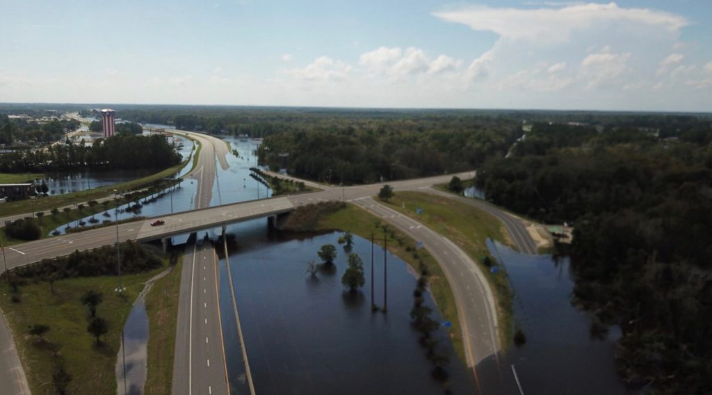 Hurricane Florence floods Interstate 95 near Lumberton in 2018. Photo from the N.C. Department of Transportation.