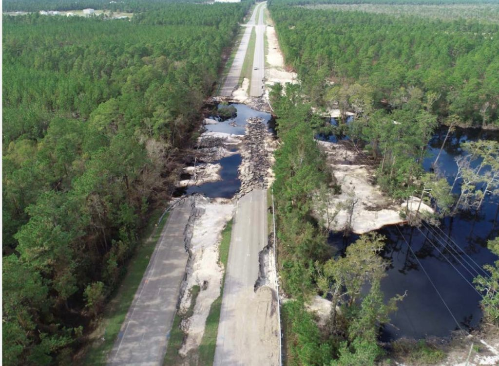 Hurricane Florence damages U.S. 421. Photo from the N.C. Department of Transportation.