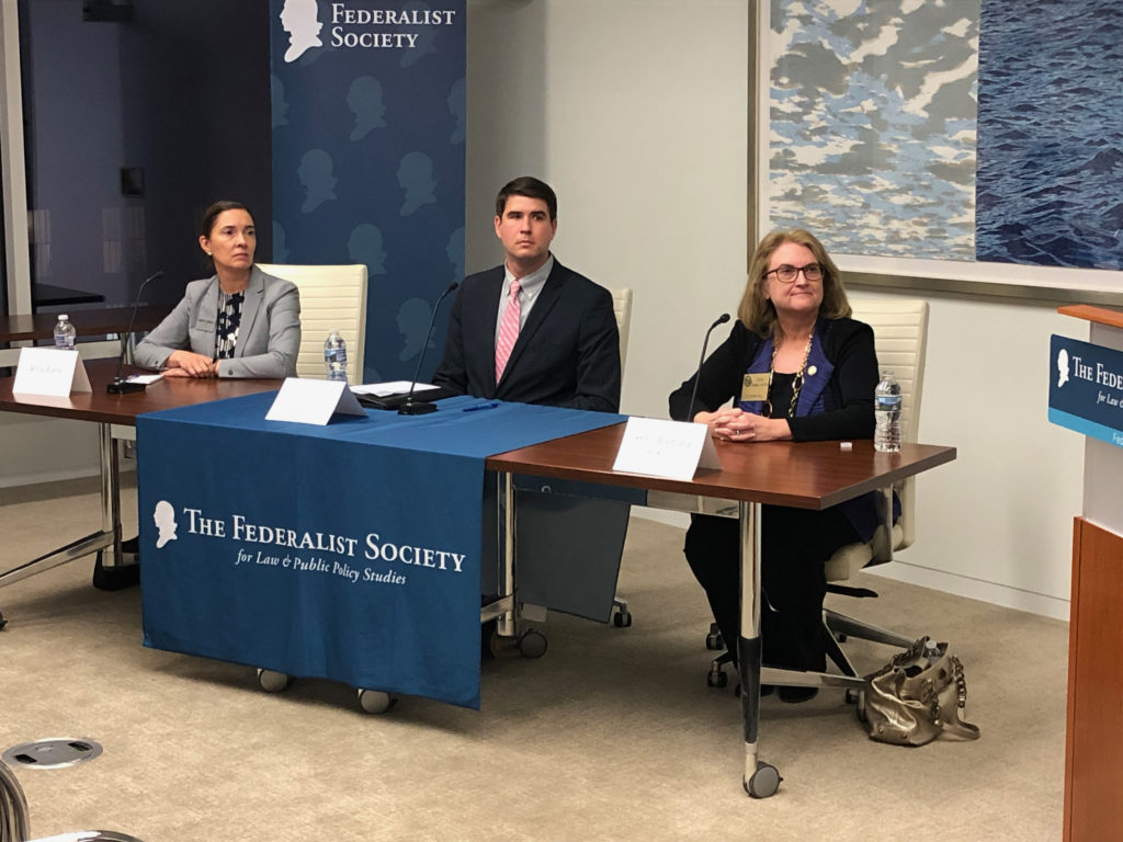 N.C. Supreme Court candidates Anita Earls, Chris Anglin, and Barbara Jackson answer questions Oct. 23, 2018, during a Federalist Society forum in Raleigh.