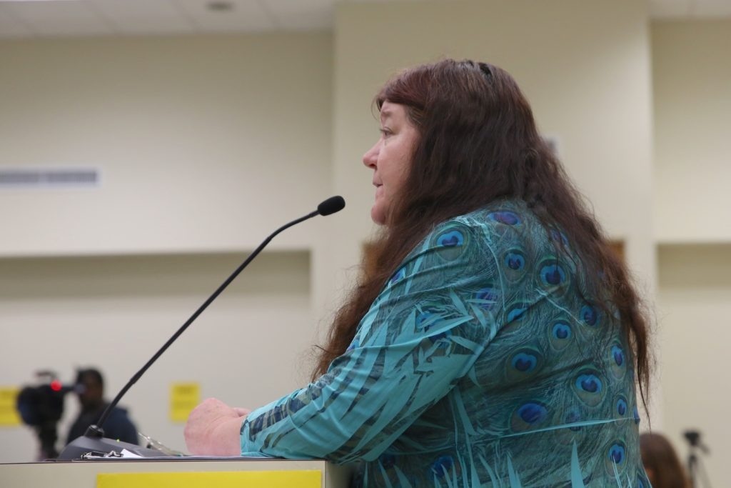 Therese Vick of the Blue Ridge Environmental Defense League testifies at a Nov. 14, 2018, legislative committee meeting on the Atlantic Coast Pipeline. (CJ photo by Don Carrington)