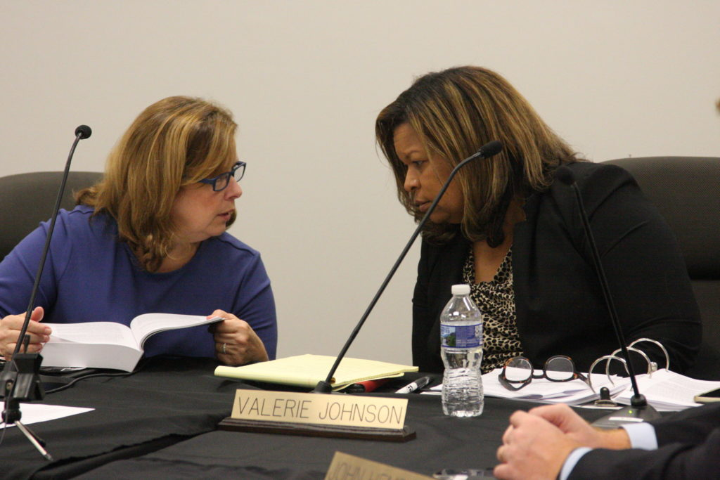 Stella Anderson, left, secretary of the State Board of Elections, is pictured in October with Valerie Johnson. Both served on the previous elections board. (CJ photo by Dan Way)