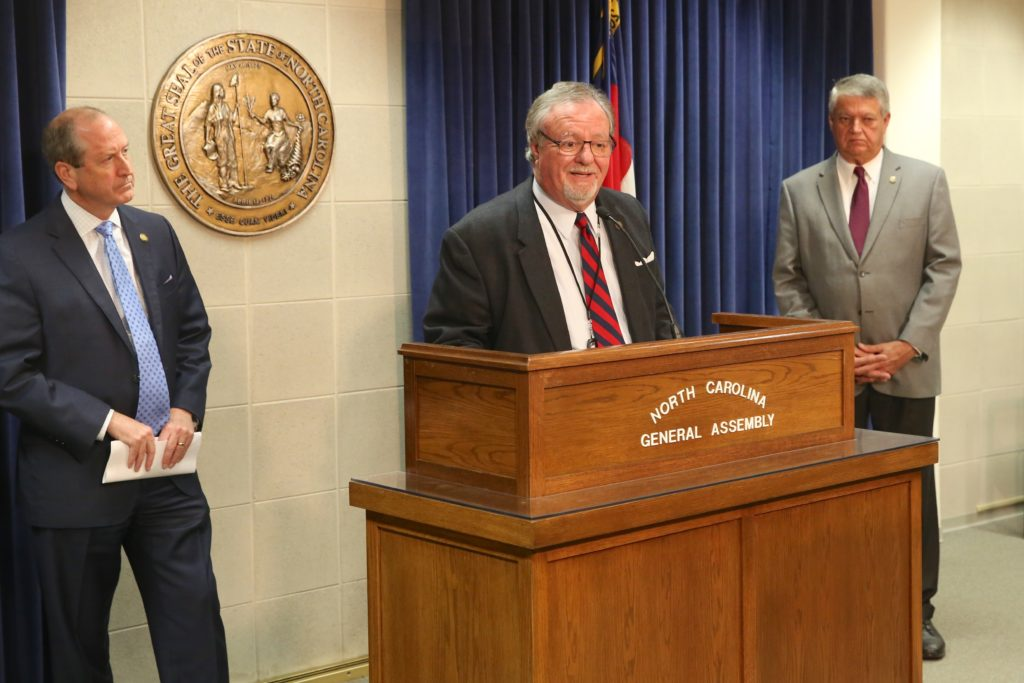 Sen. Tommy Tucker, R-Union, speaks at a Nov. 6 news conference. He was flanked by Sen. Dan Bishop, R-Mecklenburg, left, and Sen. Norm Sanderson, R-Pamlico.