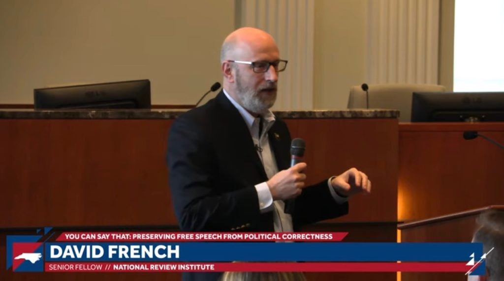 Attorney and legal writer David French speaks at a Dec. 10 forum at the N.C. State Bar headquarters co-sponsored by the John Locke Foundation.