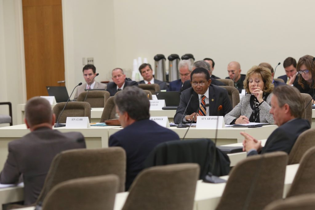 Sen. Floyd McKissick, D-Durham, speaks at a Dec. 12 meeting of a legislative committee overseeing the Atlantic Coast Pipeline mitigation fund. At right is Sen. Joyce Krawiec, R-Forsyth. (CJ photo by Don Carrington)