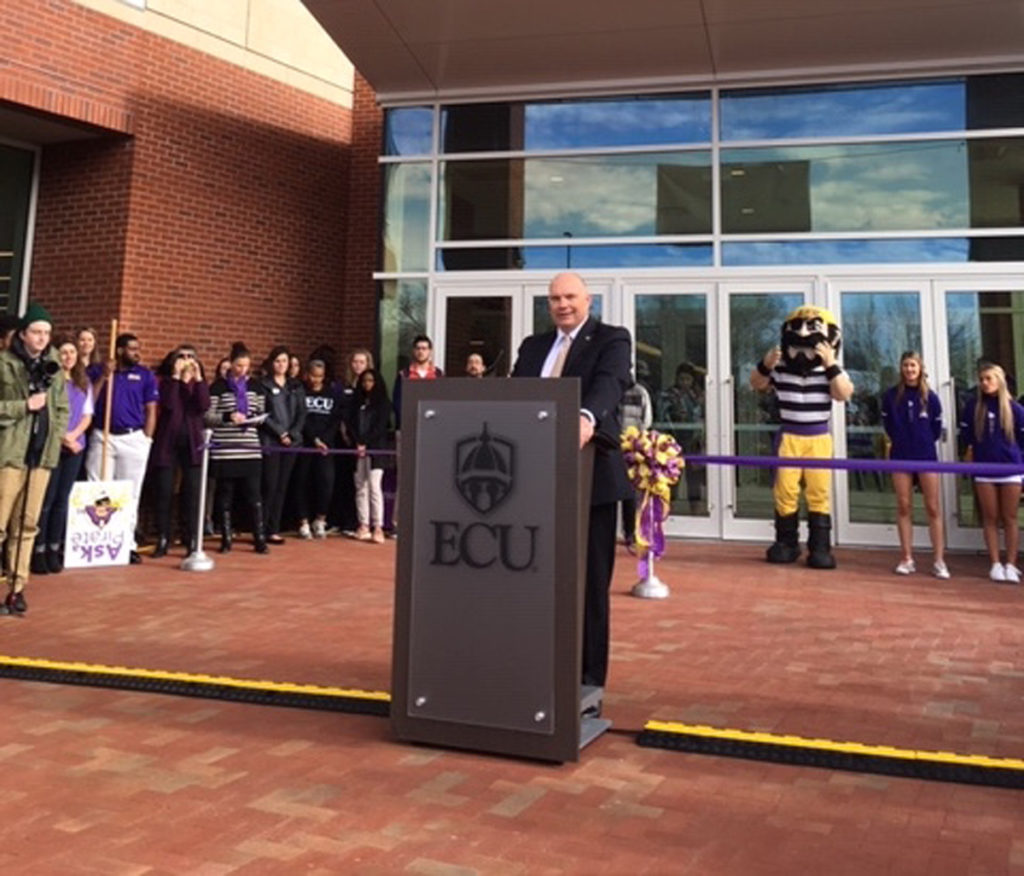UNC Board of Governors Chairman Harry Smith speaks at the opening of the new East Carolina University student center Monday, Jan. 7. Smith informed the university in November he was cutting off contact with ECU. (CJ stock photo)