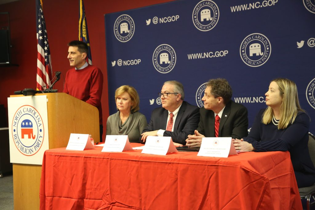N.C. Republican Party Executive Director Dallas Woodhouse, at lectern, was joined at a Monday news conference by local 9th District GOP officials (from left) Susan Mills,   Dan Barry, Phillip Stephens, and Sarah Reidy-Jones. (CJ photo by Don Carrington)