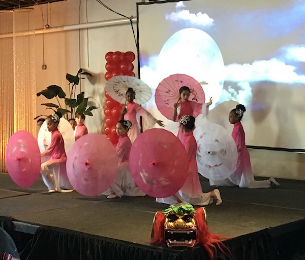 Students from East Voyager Academy in Charlotte perform a traditional Chinese dance for attendees at the Raleigh school choice rally in celebration of National School Choice Week. (CJ photo by Lindsay Marchello)