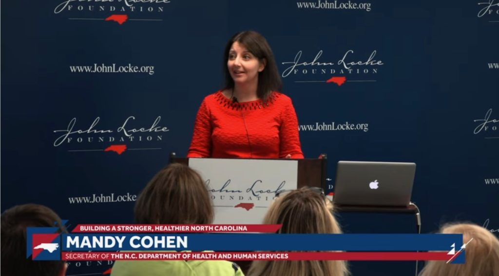 State Health and Human Services Secretary Dr. Mandy Cohen, speaking Feb. 4, 2019, at the John Locke Foundation. (CJ file photo)