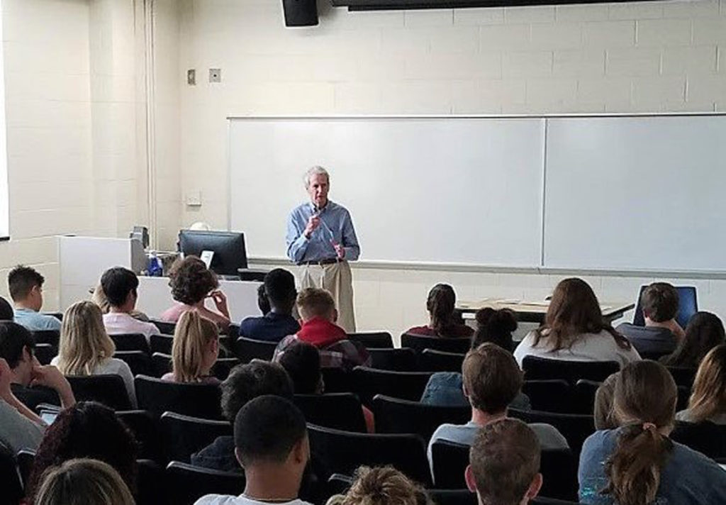 Rep. Walter Jones Jr., R-3rd District, died Sunday on his 76th birthday. He's pictured here in October speaking to students at East Carolina University. (Photo from Twitter)