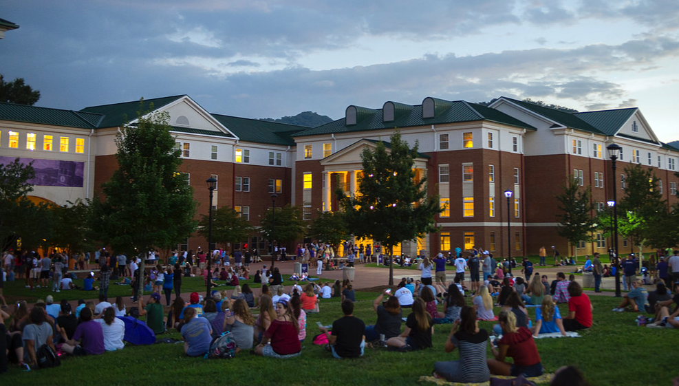 Western Carolina University students gather to watch the August 2017 'super eclipse.' (Photo from WCU Flickr account)