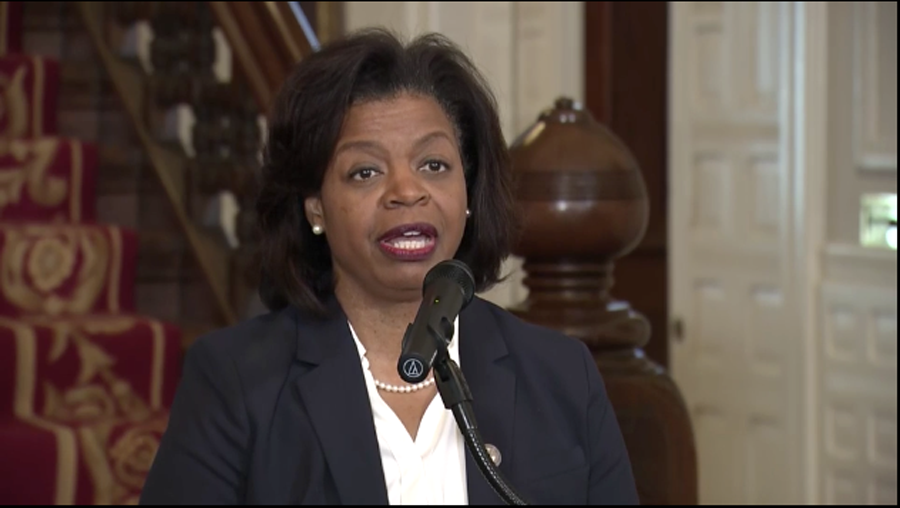 N.C. Supreme Court Chief Justice Cheri Beasley, as she was introduced in February 2019 by Gov. Roy Cooper. (Screenshot from WRAL.com)