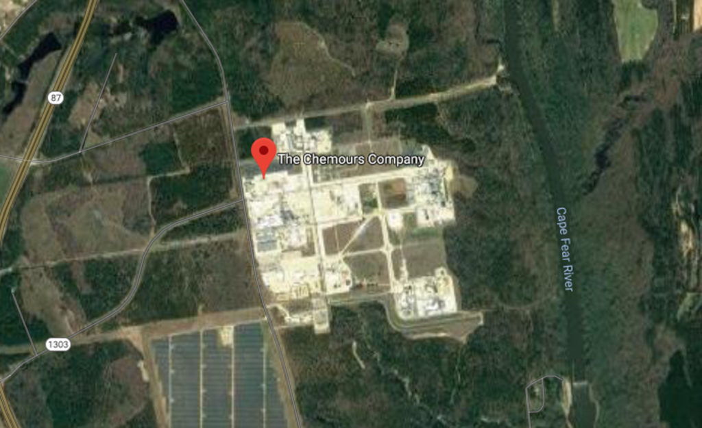 The Fayetteville Works complex, including the Chemours facility. (Satellite image from Google Maps)