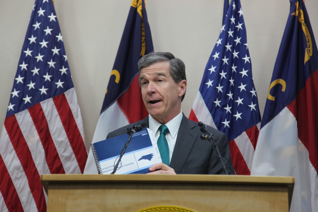Gov. Roy Cooper unveiled his spending plan for the upcoming two-year budget cycle on Wednesday, March 6. He proposed budgets of $25.2 billion for 2019-20, and $25.9 billion for 2020-21. (CJ photo by Dan Way)