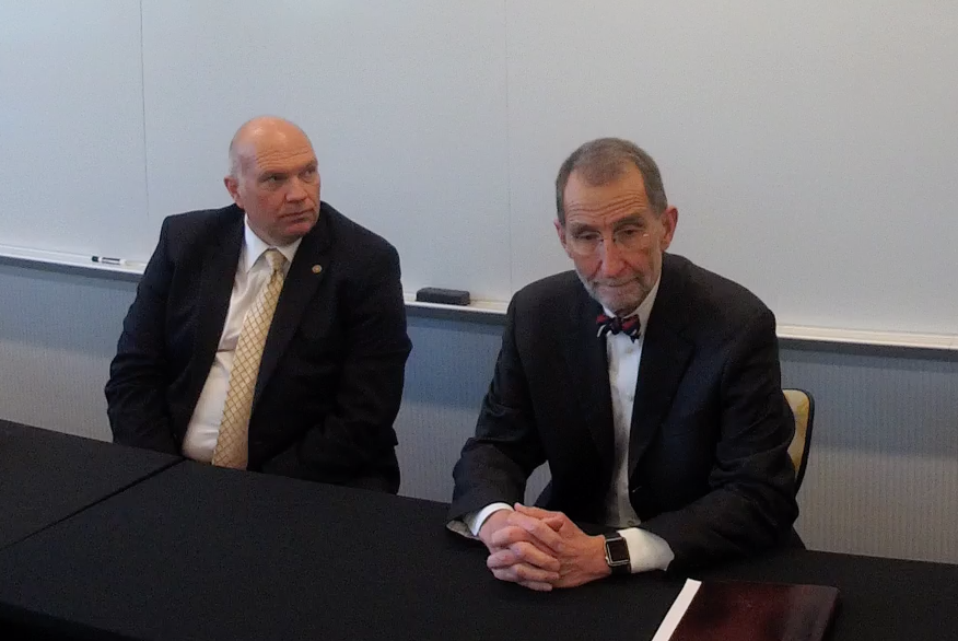 UNC Board of Governors Chairman Harry Smith, left, and UNC Interim President Dr. Bill Roper speak with reporters after the board's March 22 meeting at Appalachian State University in Boone. (Screen shot from video provided by The Appalachian)