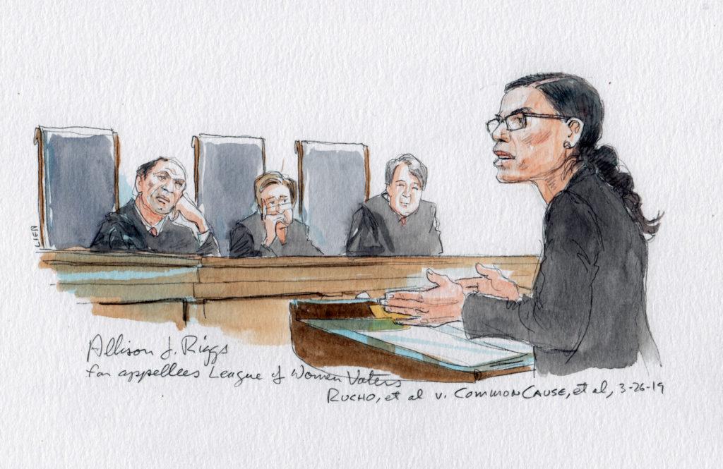 Allison J. Riggs for appellees League of Women Voters (Artwork created by Art Lien, courtartist.com)