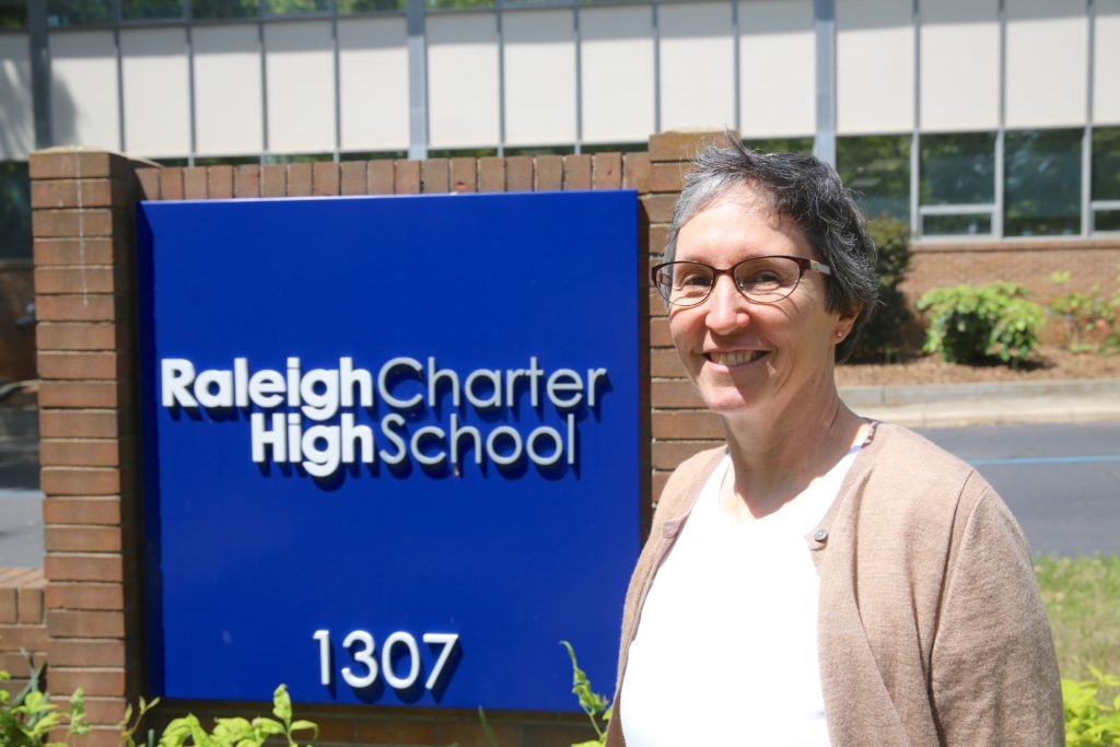 Lisa Huddleston, principal of Raleigh Charter High School, one of the top-ranked public high schools in the U.S.  (CJ photo)