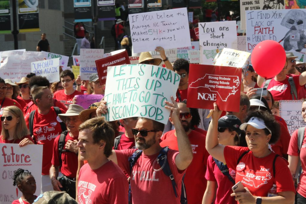 Protesters at the Legislative Complex in Raleigh listen to speeches May 1. (CJ photo by Don Carrington)