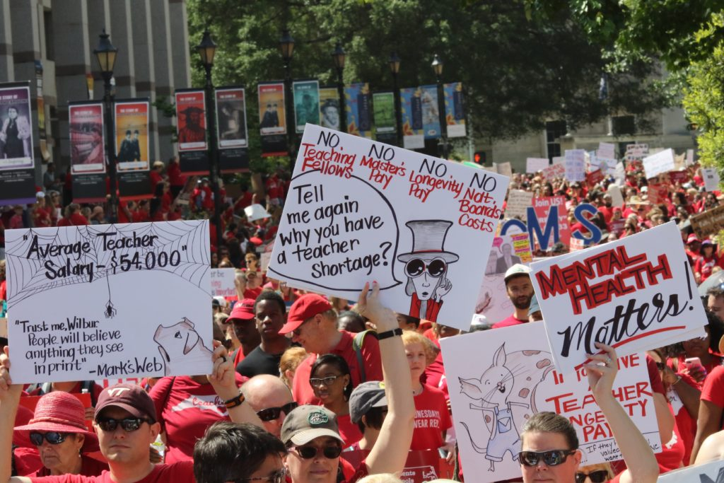 Teachers walked out of work and rallied at the N.C. Legislative Building on May 1, 2019. CJ photo by Don Carrington.